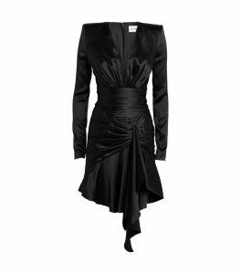 Silk Asymmetric Draped Dress