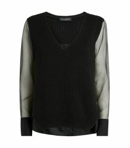 Knitted Organza Sleeve Sweater