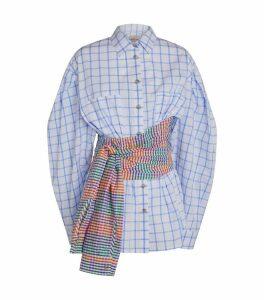 Check Print Wrap-Around Shirt