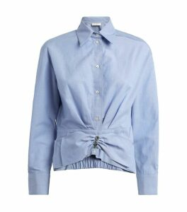 Removable-Bow Detail Cropped Shirt