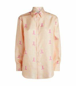JL Monogram Print Silk Shirt