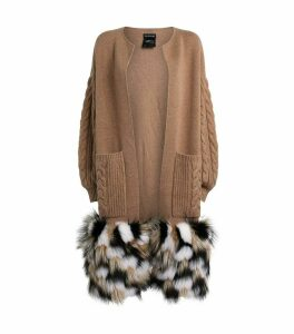 Wool Fox Fur-Trim Cardigan