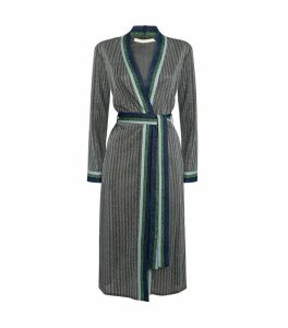 Metallic Stripe Belted Cardigan