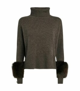 Fox-Trim Rollneck Sweater