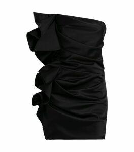 Satin Ruffle Mini Dress