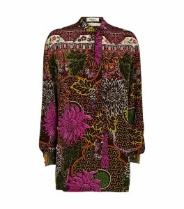 Printed Crepe de Chine Tunic Top