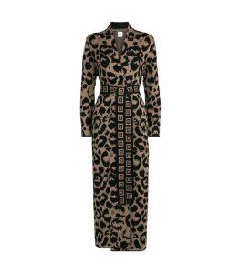 Leopard Print Ikat Longline Cardigan
