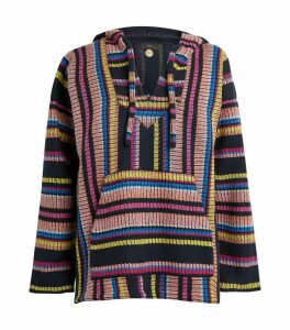 Wool-Cashmere Fine Stripes Hooded Sweater