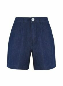 Womens Indigo Bermuda Shorts - Blue, Blue