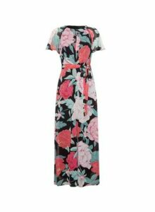 Womens Multi Colour Angel Sleeve Twist Maxi Dress, Multi Colour