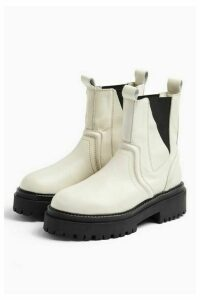 Womens Albie Ecru Leather Chunky Chelsea Boots - Off White, Off White