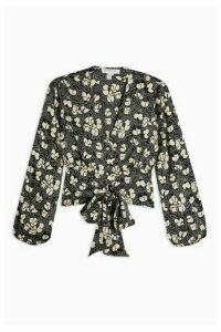 Womens Petite Scribble Tulip Tiered Shirt - Black, Black