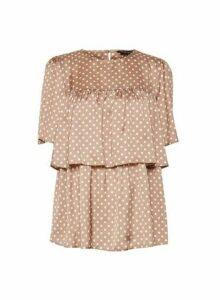 Womens Camel Spot Print Tiered Ruffle Dobby Top - Brown, Brown