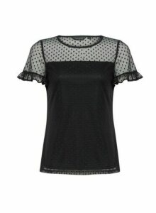 Womens Black Dobby Mesh Frill Top, Black