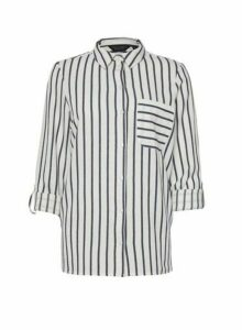 Womens Navy Stripe Print Linen Shirt, Navy