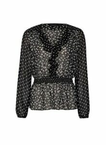 Womens Black Sheer Mix Match Floral Print Top, Black