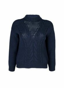 Womens Petite Navy Cotton Cable Jumper- Blue, Blue
