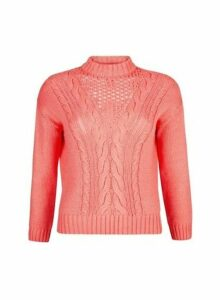 Womens Dp Petite Pink Cotton Cable Jumper, Pink