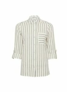 Womens Dp Petite Navy Stripe Print Linen Shirt - White, White