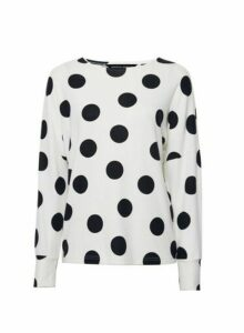 Womens White Spot Print Jumper- Cream, Cream