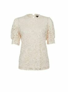 Womens Pink Puff Sleeve Lace T-Shirt, Pink