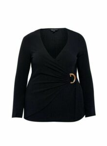 Womens Dp Curve Black Wrap Buckle Top, Black