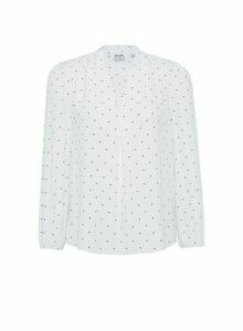 Womens Petite Ivory Pinspot Print V Neck Blouse- White, White