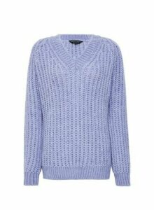 Womens Purple Lilac V-Neck Chunky Jumper, Purple