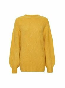 Womens **Tall Yellow Cable Jumper, Yellow