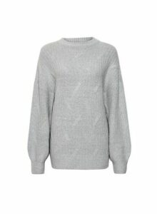 Womens Dp Tall Grey Cable Jumper, Grey