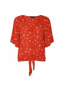 Womens Red Floral Print Tie Front Shirt, Red