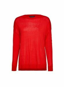 Womens Red Fine Knit Crew Neck Jumper, Red