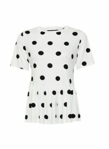 Womens White Spot Print Peplum Hem T-Shirt, White