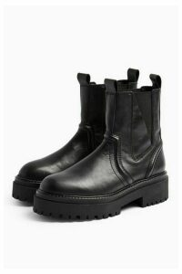 Womens Albie Black Leather Chunky Chelsea Boots - Black, Black