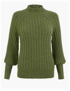Per Una Cable Knit Textured High Neck Jumper