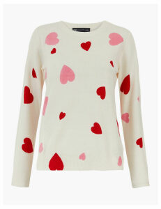 M&S Collection Printed Round Neck Jumper