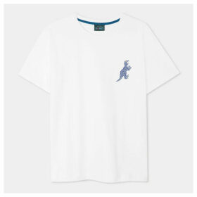 Women's White Small Navy And Silver 'Dino' Print Cotton T-Shirt