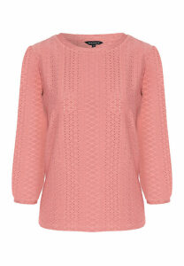 Womens Pink Jersey Broderie Top