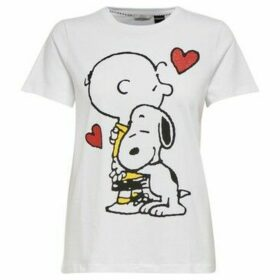 Only  15212476 PEANUT LOVE  women's T shirt in White