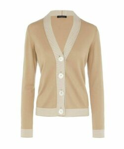 Fitted Stripe-Trim Cardigan