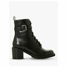 Dune Platon Leather Buckle Detail Block Heel Ankle Boots, Black