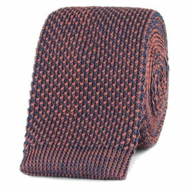 Gibson Navy And Brick Red Textured Knitted Tie