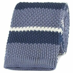 Gibson Grey And Blue Striped Knitted Tie
