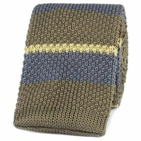 Gibson Green Striped Knitted Tie