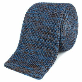 Gibson Blue and Brown melange knitted tie