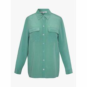 Gerard Darel Chemise Silk Blouse, Green