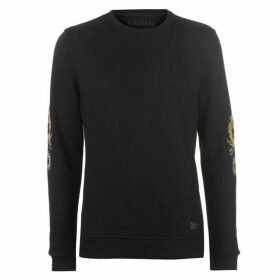 Firetrap Blackseal Embroidered Sleeve Sweatshirt