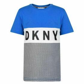 DKNY Stripe Logo Short Sleeved T Shirt