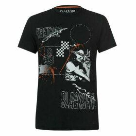 Firetrap Blackseal Print Embellished T Shirt