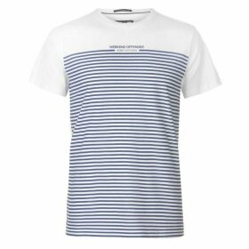 Weekend Offender Half Stripe T Shirt Mens